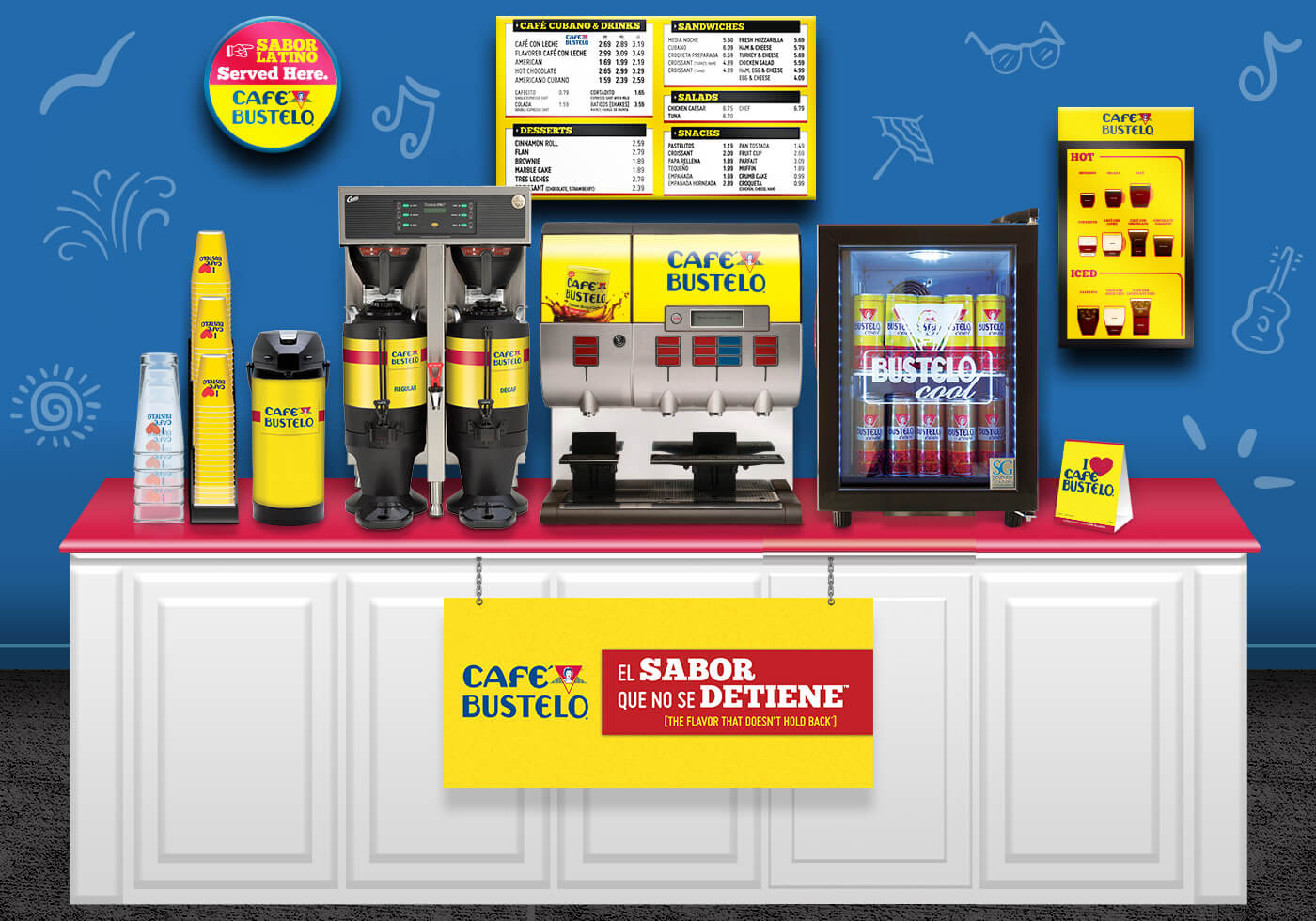 Example of a coffee bar feature Cafe Bustelo products and equipment