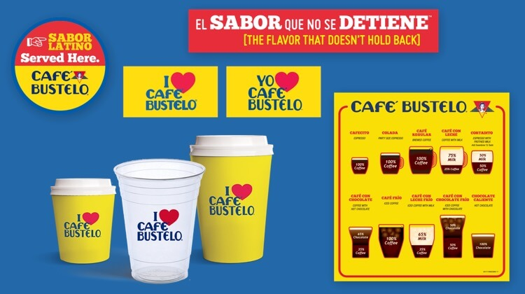 An array of Cafe Bustelo merchandise including cups and posters